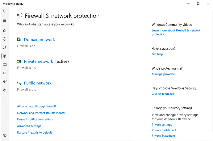 Firewall is on