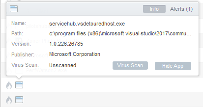 Firewall entries/icons for Visual Studio 2017 have no